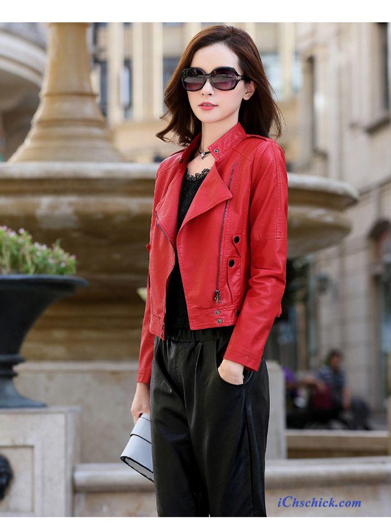 Rote Winter Jacke Damen, Lederjacke Damen Online Shop Billig