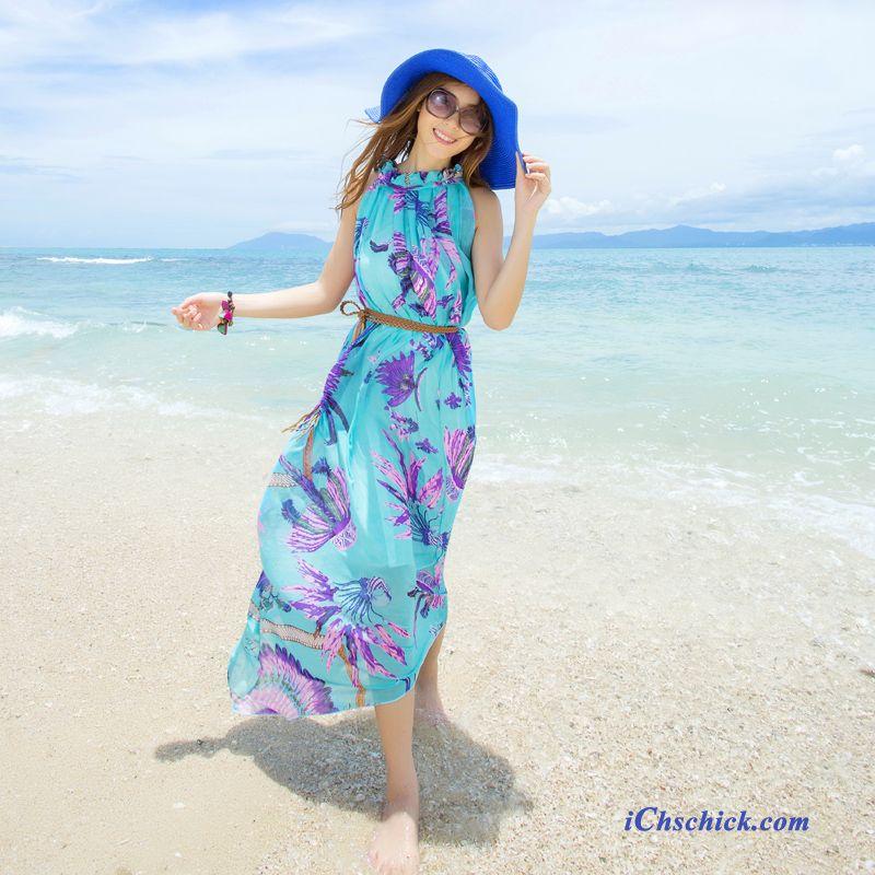 Blaues Kleid Mit Spitze Hell, Damen Kleid Mode