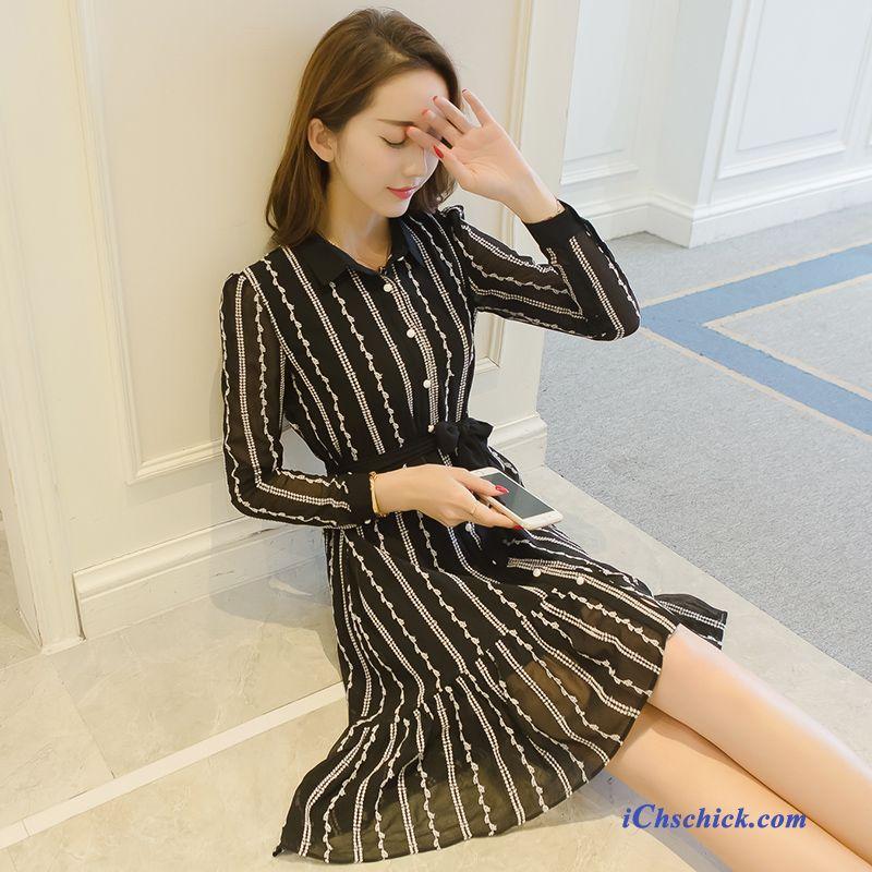 Damen Kleid Schwarz Weiß Gestreift, Damen Modekleider